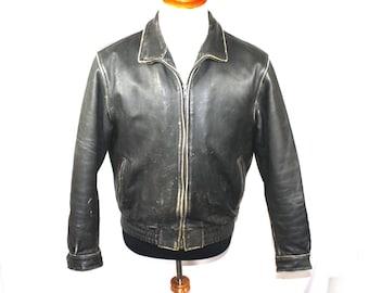 Vintage Men's Leather Jacket Eurox German Leather Jacket  Indiana Jones Brown Bomber Jacket Mens L Motorcycle Aviator Jacket