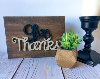 Thanksgiving Decor - Give Thanks - Rustic Home Decor - Rustic Sign - Give Thanks Sign - Thankful Sign - Thanksgiving Sign - Thanksgiving