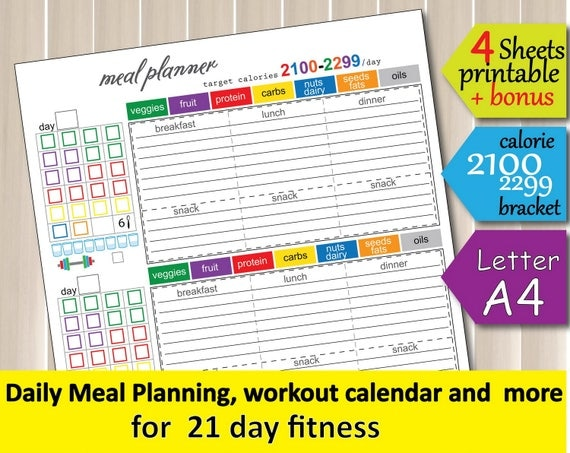 21 Day Fitness Tracking Sheet 2100 Calorie Bracket Diet