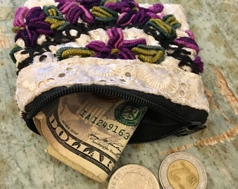 MEXICAN COIN PURSE Small, Embroidered pouch, cards & cash purse made in Chiapas