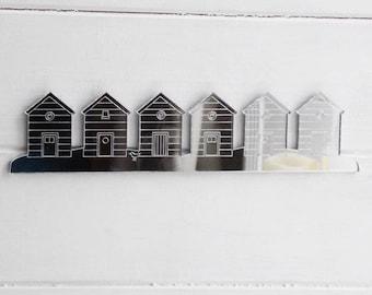 Row of 6 Beach Huts Acrylic Mirror