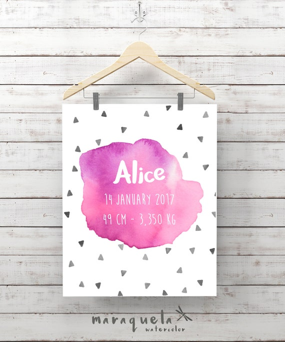 CUSTOMIZED PINK watercolor for newborn with personalized name,triangles,date, weight.Custom new born gift,baby shower,nursery wall room art