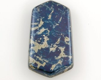"""Covellite with Pyrite Cabochon from Butte, Montana, 1.55"""" x 0.83"""" x 0.22"""", weight: 15.6g"""