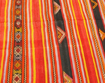 Cr1900-1939s Long 5'9''x11'2'' Antique Henna Dyes Tent Woven Tribal Wool Kilim