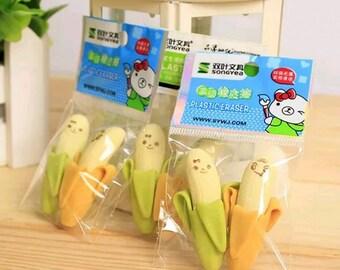 Cute Banana Erasers (Pack of 2)