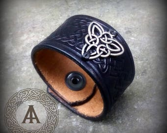 Black Leather Celtic Cuff Bracelet with Celtic Knot