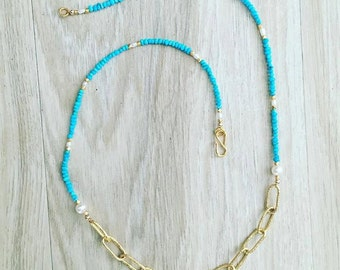 Turquoise, Pearl, and Chain Necklace
