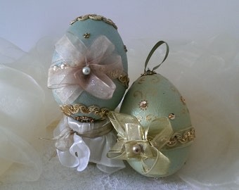 Easter eggs, decorated with paillets, ribbons and rhinestones