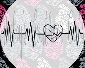 Heartbeat - Volleyball Heart - SVG, EPS, DXF, png, pdf files