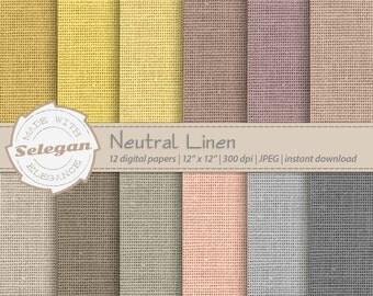 "Linen Digital Papers "" Neutral Linen "" canvas texture backgrounds Linen Digital Paper Set Jute Burlap Texture Natural Shades scrapbook"