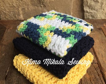Crocheted Dishcloths - Soft Yellow, Navy Blue, and Green - 100% Cotton - Set of Three
