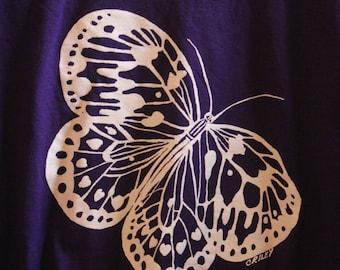 Original butterfly design silk screened t-shirt in black or purple