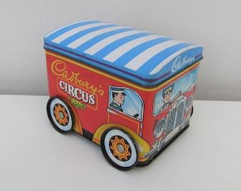 Vintage Cadburys Animals Circus Car Tin Retro Kitsch 1980s Gift Storage Kids Display Advertising Retro Fab