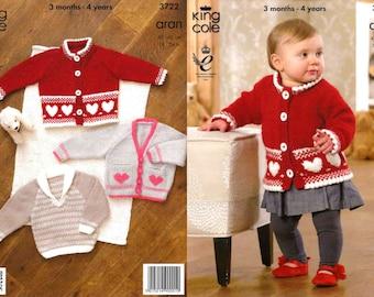 "King Cole Knitting Pattern 3722~Jacket, Sweater & Cardigan~Aran~16-24"""
