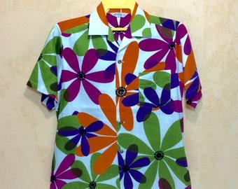 60s Vintage Rare Made In Hawaii Mia Fashion Hawaiian Multicolor Flower Shirt Adults Small Size