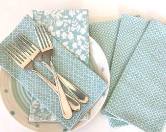 Cloth Napkins - Luncheon Napkins - Set of Four Blue and White Print Napkins - Spring Napkins -  Cloth Dinner Napkins