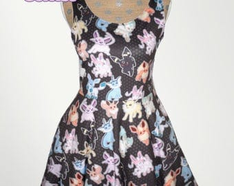 Eeveelution Dress Pokemon Inspired Eevee Skater Dress Eeveelutions Dress Nintendo*MADE 2 ORDER* Sz XS through 5XL