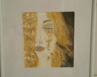 Gustav Klimt the Golden tear Agryl with gold leaf