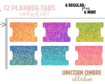 Planner Page Tabs : UNICORN OMBRE COLLECTION | Set of 12 Planner Tabs | DreamPlanRepeat