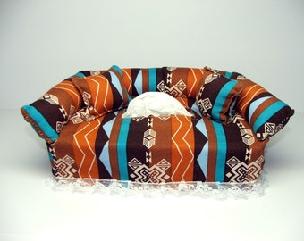 Southwest Orange fabric tissue box cover.