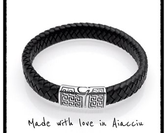 man braided leather and steel bracelet