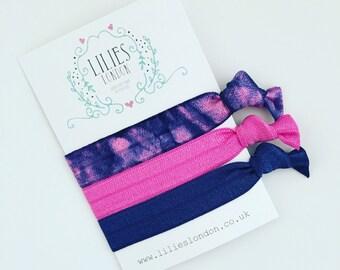 Tie dye hair ties, navy hair bands, retro hairties, pink bracelet, elastic hairbands, ponytail holders, handmade hairband, fashion accessory