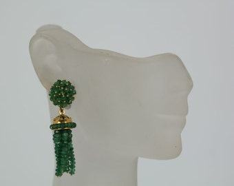 Vintage 1980's Emerald tassel Earrings with round posted studded w/ emeralds 4.5cm