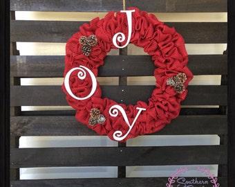 Christmas Joy Wreath, Joy Wreath, Burlap Wreath, Front Door Wreath, Christmas Wreath, Joy