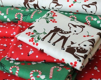Michael Miller Studio Christmas Fat Quarter Bundle. (3 Fat Quarters)