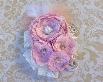 Pink/Lilac and White Satin Singed Flower Headband , Feather Headband, Lace Headband, Over The Top Couture Headband Photo  Prop