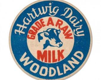 "Metal Sign "" Milk Kitchen Decor "" 14"" Dia. Man Cave"