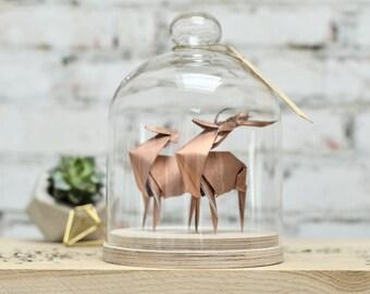 Origami Sculpture Couple Cerf. Taxidermie. Mariage Origami. Cadeau Anniversaire Mariage. Décoration Cuivre. Mariés. Cadeau pour elle