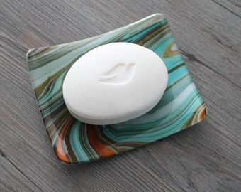 "Brown, Aqua, and Orange ""Southwestern"" Fused Glass Soap Dish; Fused Glass; Housewarming Gift; Hostess Gift; Bathroom Decor"
