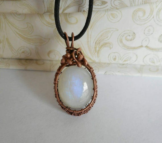 Rainbow Moonstone copper wire wrapped pendant