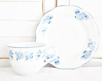 Vintage Arita Blue Damask Teacup & Saucer   Vintage Teacup, Blue Teacup, Large Teacup, Tea Party Teacup