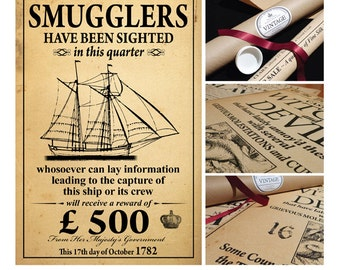 SMUGGLERS... Vintage Style Poster in Tube... British Nostalgia... GIFT