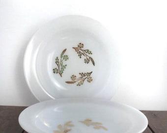Milk Glass Bowls - Federal Glass Meadow Gold Bowls, Set of 2 Vintage Milk Glass Bowls with Gold Wheat Pattern