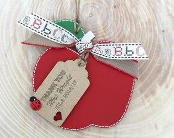 Personalized Wooden teachers apple. Teachers gift. End of school