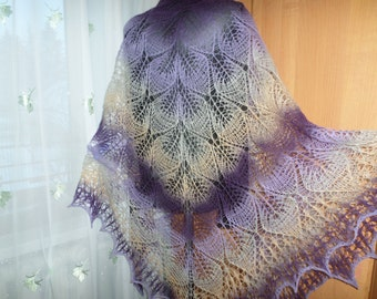 Shawls And Wraps Handknit Shawl Knit Wrap Shawls For Women Lilac Purple Wrap Fashion Accessories Purple And Gray Wool Shawl Birthday gift