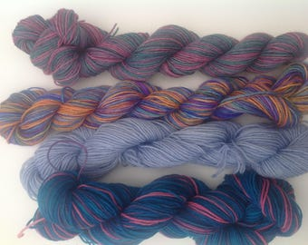Sock yarn, hand dyed destash , mini skeins mixed merino wool, silk , cashmere etc. Mixed lots.