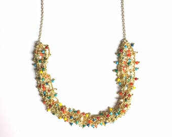 ARGAN - gold and multicolored NECKLACE sale