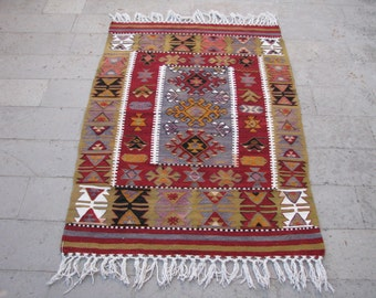 vintage turkish kilim rugesme boho kilim rugbohemian kilim rug - 3x5 Rugs