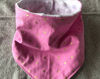 Gold star/pink fabric bandana bib