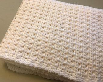 Handmade White Crotchet Baby Blanket