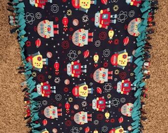 """Space Robots Handmade Fleece Tie Blanket. 50"""" x 32"""""""