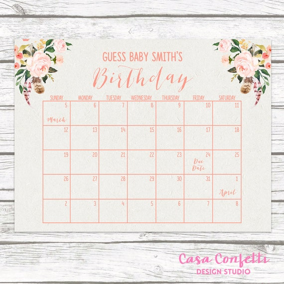 Baby Calendar Design : Boho due date calendar guess baby s shower