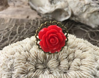 JEWELRY:  Red Flower Filigree Ring / Rose Adjustable Brass filigree Ring/ Gift for Her. {A9-34#00153}