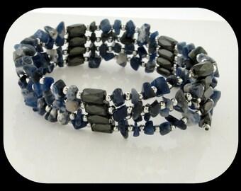 Handcraftrd Magnet Hematite Sodalite & Lapis for Bracelet, Anklet or Necklace