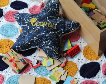 Star Cushion, Personalised Cushion, Constellation, Gifts for baby, Glow in the dark
