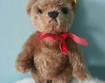 STEIFF cute small caramel brown teddy bear! 0202/15 made in 1989 1990